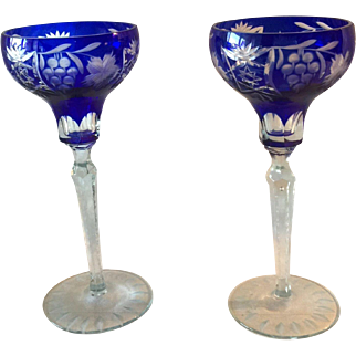 Two Bohemian, Cut to Clear, Tall, Crystal Goblets