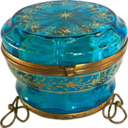 Hand Enameled Victorian Period Glass Dresser Box with Gilded feet and trim