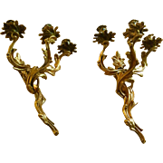Dore Bronze French Candle Sconces
