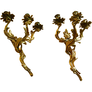 Dore Bronze French Candle Sconces c. 1860