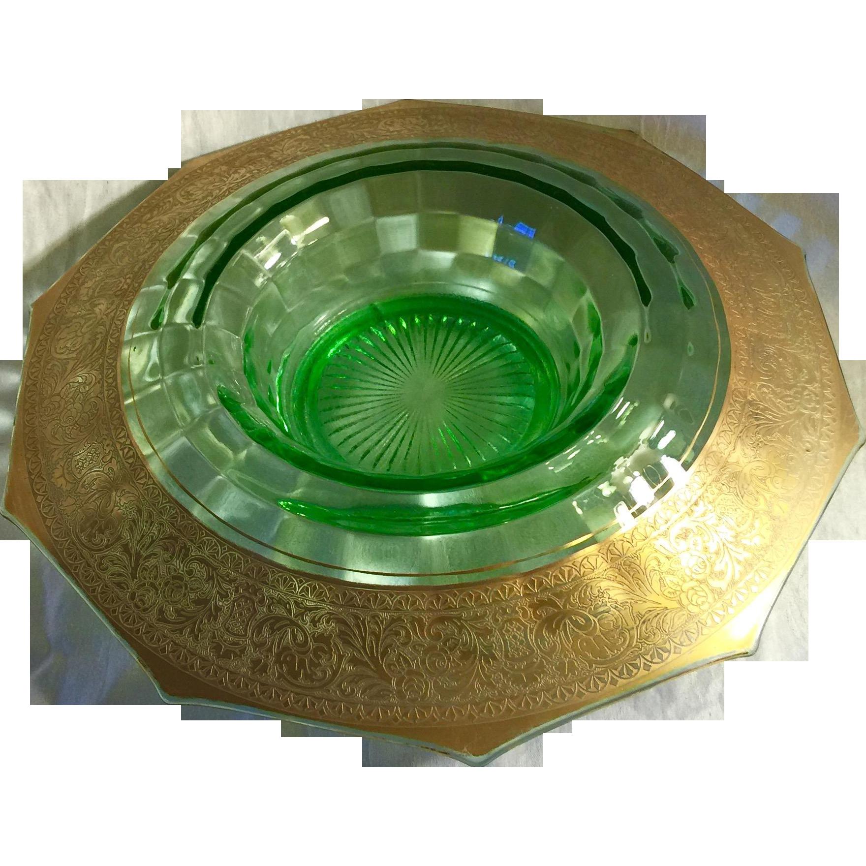 Depression Era Elegant Green Gilded Glass Console Bowl