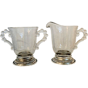 Depression Glass Candlewick Creamer and Sugar with Sterling foot