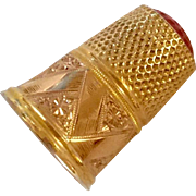 14K Yellow Gold Thimble With Stone Finger Guard