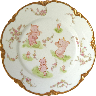 Haviland Limoges Plate Decorated With Kewpies
