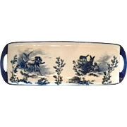 Pirkenhammer Blue and White Porcelain Tray c. 1890 with Dogs and Rabbits