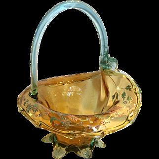Moser Hand Enameled Art Glass Basket