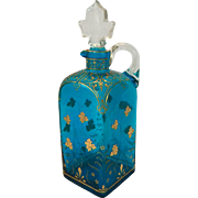 Hand Enameled Moser Decanter Turquoise Blue Glass with Gold Enamel c. 1880