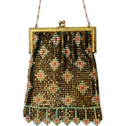 1920's Whiting & Davis Co. Multi-Color Enamel Mesh Bag