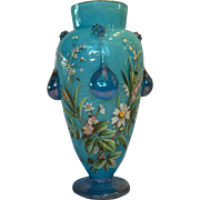 Stunning Moser Hand Enameled Crackle Glass Tear Drop Vase c. 1880