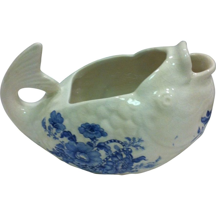 Whimsical, Fish Shaped, English, Blue & White, Sauceboat c.1890