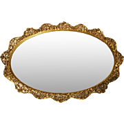 "Matson Oval Mirror Tray, Lg. 20 1/2"", 24k Gold Plate, Rose Pattern"