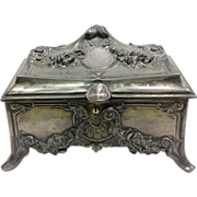 Victorian Period Pewter Dresser Box or Jewel Case c. 1880-1890
