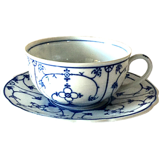 Vintage Blue and White Porcelain Tea Cup and Saucer