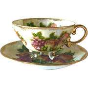 Vintage Japanese Porcelain Tea Cup and Saucer with Fruit Decoration and Luster