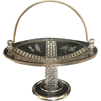 Victorian Period Pressed Glass Cake Basket with Iron Handle