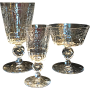30 Antique Cut Crystal Goblets, Three Sizes 10 of Each Size Rock Crystal Style Pattern.
