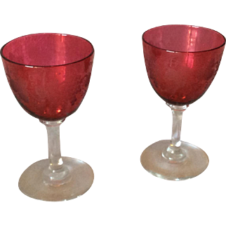 Two Etched Cranberry Glass Wine Glasses c. 1910-1920