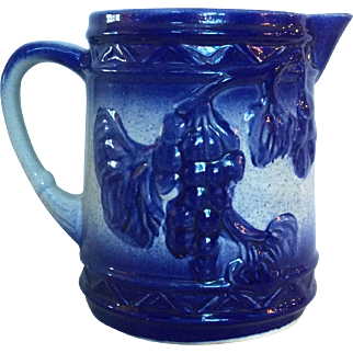 Blue and Gray Stoneware Jug Grapes with Lattice Pattern