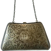 Antique Sterling Silver Purse With Chain