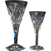 24 Val St. Lambert Cut Crystal Goblets, Two sizes, 12 Each Size