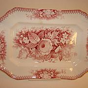 """Old Waller Porcelaine Sloe Bodkin Saar Basin 12"""" Red Transferware Platter"""