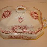 Old Waller Porcelaine Sloe Bodkin Saar Basin pink/white floral pattern, Covered Vegetable. ca. 1920, Germany