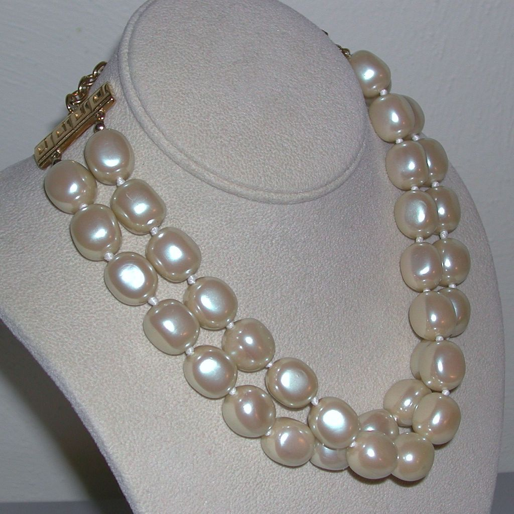 Vintage Givenchy Two Strand Faux Pearl Hand Knotted Necklace New York Paris signed