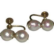 14k 585 Yellow Gold Baroque Cultured Pearls 9 mm Screw Back Earrings marked