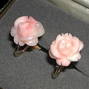 Vintage Angel Skin Pink Coral Carved Flower Screw Back Earrings 1/20 14k GF marked
