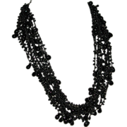 Vintage Black Enamel Twelve Strand Multi Bead Lace Effect Necklace