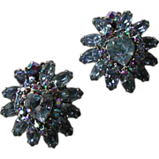 Blue Faceted Rhinestone Aurora Borealis Heart Motif Clip On Earrings Weiss signed