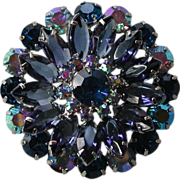 Faceted Blue Rhinestone and Aurora Borealis Delizza and Elster Juliana Round Pin Brooch