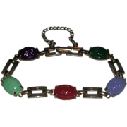 Vintage Egyptian Revival Carved Scarab Style Stones Bracelet