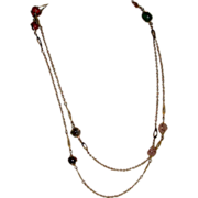 Vintage Polished Semiprecious Stone Gold Tone Chain Link Necklace 49 Inches
