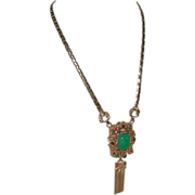 Etruscan Revival Fringed Necklace Pendant Kramer of New York marked