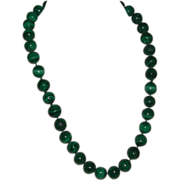 Vintage Striped Green Malachite Bead Hand Knotted Necklace