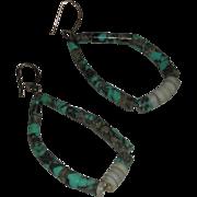 Vintage Turquoise Graduated Bead Hoop Dangle Earrings Pierced Earrings