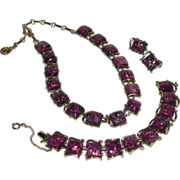 Silver Gold Tone Fuchsia Confetti Lucite Purple Link Necklace Bracelet Clip Earrings Parure Coro marked 1950s