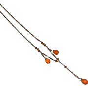 Art Deco Faceted Translucent Amber Glass Drop Sterling Enamel Sautoir Necklace marked c. 1920s