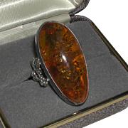 Sterling Ring Very Large Polish Baltic Honey Amber Oval marked.