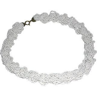 Vintage White Seed Bead Multiple Strands Braided Choker Necklace
