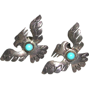 Small Thunderbird Design Native American Turquoise Stone Sterling Pierced Earrings marked
