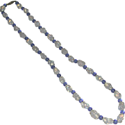 Vintage Unusual Blue White Opalescent Fry Glass Bead Necklace Old Sterling Clasp 23 Inches marked