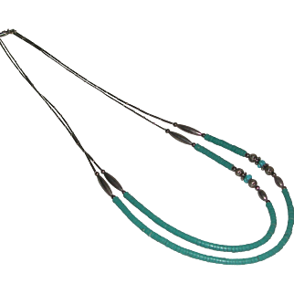 Native American Turquoise Heishi Liquid Silvertone Double Strand Necklace