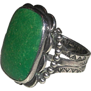 Older Substantial Native American Turquoise Sterling Engraved Ring Unisex Size 9 1/4