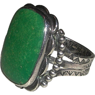 Substantial Native American Turquoise Sterling Engraved Ring Unisex Size 9 1/4