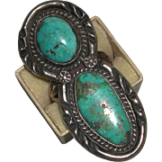 Older Large Native American Turquoise Sterling Two Stones with Matrix Unisex Size 8 ½ unmarked