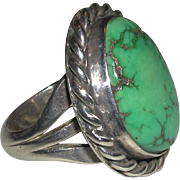 Early Native American Natural Turquoise Sterling Ring Substantial 15 Grams Size 7 1/2 Unisex unmarked