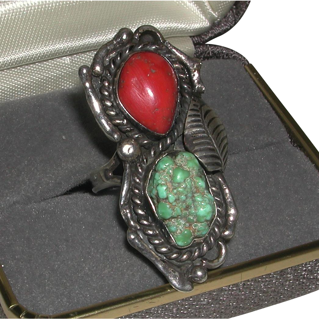 Unusual Native American Turquoise Nugget Coral Sterling Decorative Setting Ring Mweahkee signed