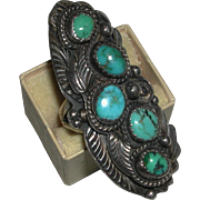 Vintage Large Native American Five Stones Turquoise Decorative Sterling Ring Size 9